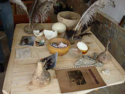 Ostrich souvenirs mini shop as the ostrich farm southern Bulgaria